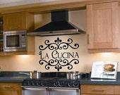 Items Similar To La Cucina Kitchen Vinyl Wall Decal Italian Decoration Kitchen Decor On Etsy