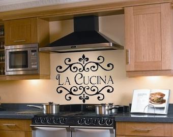 La Cucina Kitchen Vinyl Wall Decal Italian Decoration Kitchen Decor