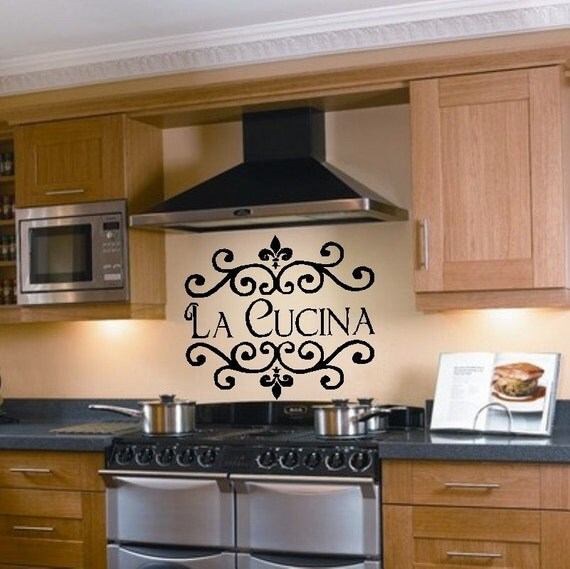 Items similar to la cucina kitchen vinyl wall decal for Kitchen decor items