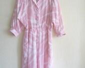 vintage pink abstract print safari dress