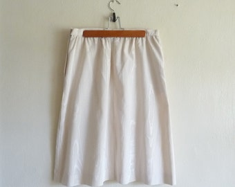 ivory midi skirt in woodgrain faux bois, small
