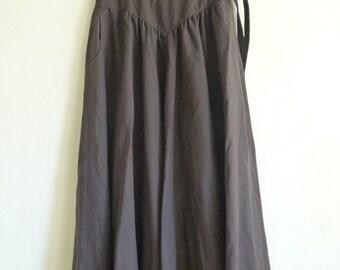 brown high waist maxi skirt