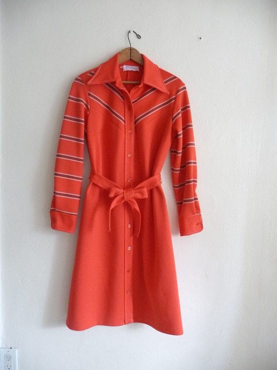 shirt dress, vibrant red chevron stripes with long sleeve