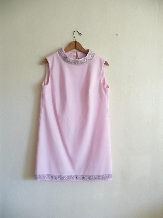 pink shift mini dress, small medium