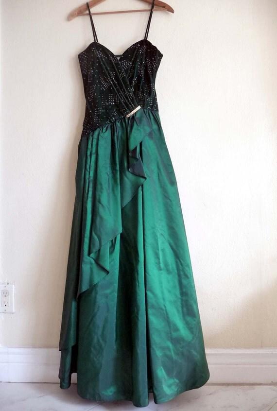 green new years holiday ball party dress, long formal, princess