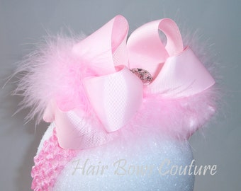 Pink Large Double Layered Marabou Boutique Hair Bow Headband Loopy Hairbow Headband with Rhinestone, Newborn Infants, Toddler, Easter Bows