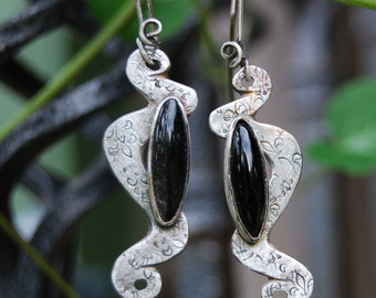 Snake Scroll Handmade Sterling Black Hypersthene Fleur de Lis Earrings- One of a Kind