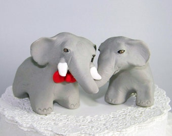 Elephant Wedding Cake Topper - Asian Elephant Sculptures - Grey, White and Red - Your Color Choices - Fully Customizable
