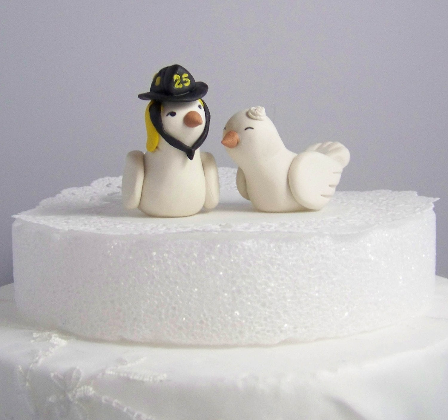 Firefighter Wedding Cake Topper Love Birds Cake Topper Custom
