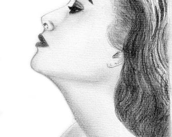 Pencil drawing Titled Grace Kelly