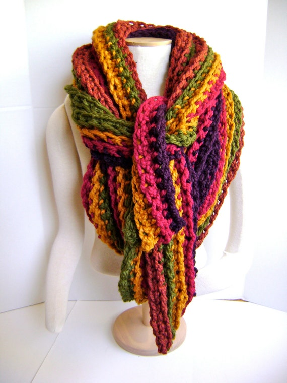 Crochet Scarf Cowl - ON SALE 68 reg 115 - Mile Long - Super Chunky - Super Chic Luxury Item