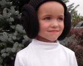 Knit Princess Leia Inspired Bun Hat, Wig, Costume, Black, Brown, Baby, Toddler, Children, Youth, Teen & Adult Sizes Star Wars Fan, Halloween