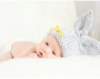 Knit Baby Bunny Hat, Hand Knit Infant/ Newborn Photo Prop, Easter Rabbit, U Choose Color, Chunky, Sizes NB- Adult, Great Spring Gift