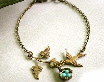 Branch and Bird Nest Bracelet
