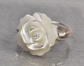 Wire Wrapped Ring- Sterling Silver with White Mother of Pearl Carved Rose/Flower- Any Size- Size 4, 5, 6, 7, 8, 9, 10, 11, 12, 13, 14