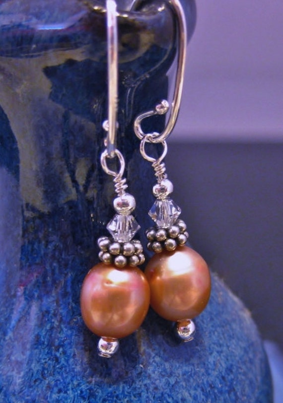 Peach Pearl Earrings Pink Freshwater Pearl Delicate Swarovski Crystals Sterling Bridal Wedding Jewelry Pearl Jewelry June Birthstone