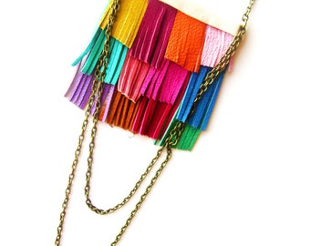 Rainbow Bib Necklace, Fringe Leather Necklace, Colorful Statement Necklace, Leather Jewelry, Geometric Necklace, Color Block Necklace
