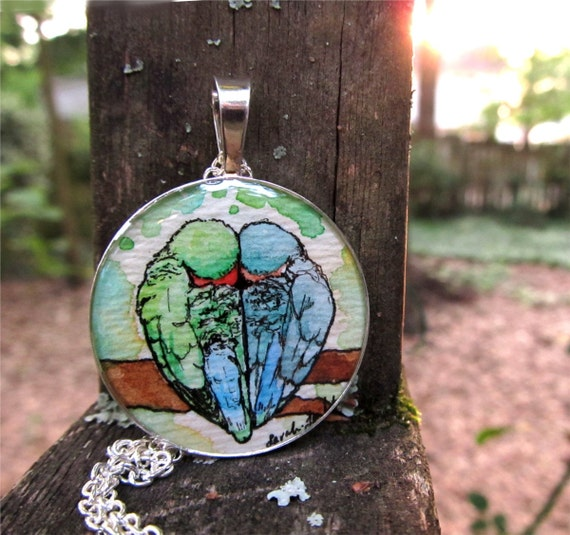 Snuggling Lovebirds silver necklace, wearable art jewelry, hand painted love bird necklace, watercolor pendant ONE OF A KIND
