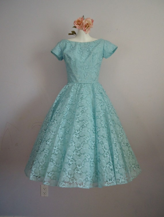 Reserved for Cindy...do not purchase...Vintage 1950's Prom Wedding Party Tea Length Pastel Blue Lace Dress