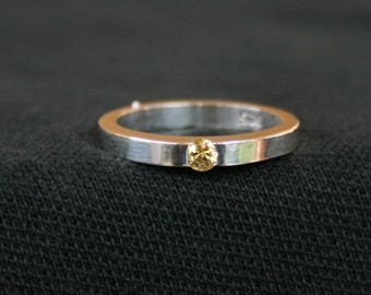 Petite Modern Fancy Yellow Sapphire Sterling Silver Ring SZ 6 Hand Forged