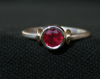 Ancient Collection Dark Red Ruby And Sterling Silver Ring With 14K Gold Accent