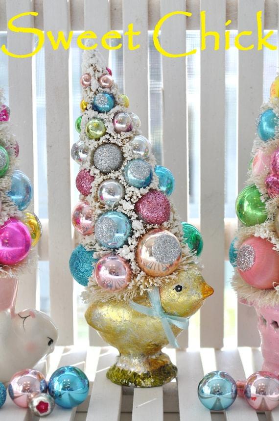 Christmas Chick EasTeR Parade Shabby Bottle Brush Tree pink chick vintage glass ornaments chic mica flocking glitter bottlebrush
