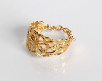 Victorian Gold Plated Flower Ring