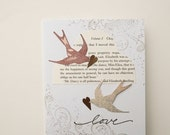 Handmade Card - Art Nouveau Birds on a Jane Austen Cloud - the perfect card for a Wedding, Anniversary , or to say I Love You