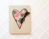 Handmade Birthday Card - heart, ribbon, art paper - tan, black, red, and metallic gold, modern, masculine