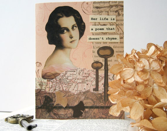 SALE Handmade Thinking of You Card - OOAK collage - peach, brown -  Her life is a poem that doesn't rhyme - caring, friendship, get well