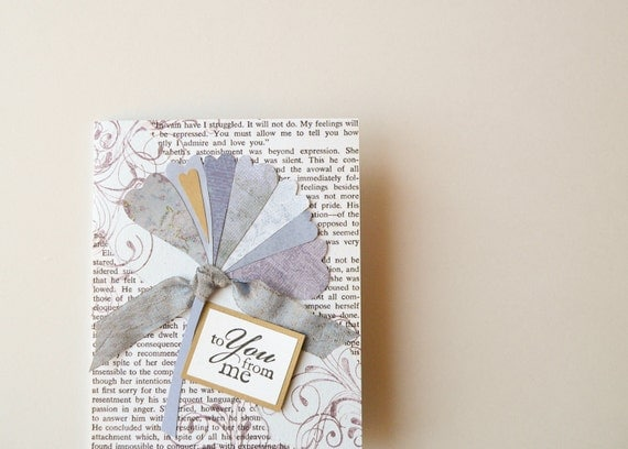 Handmade Valentine Card -- original ginkgo, mr. darcy's proposal, romantic, valentine, periwinkle blue, plum purple