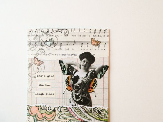 Handmade OOAK Greeting Card - vintage inspired  -- She's glad she has laugh lines - butterfly, music