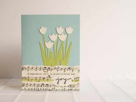 Handmade Music and Tulips Greeting Card - robins egg blue, green, ivory, garden, pastel, summer, birthday, wedding, graduation, baby