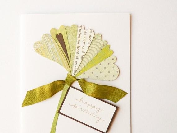 Handmade Birthday Card - ginkgo leaf, OOAK, apple green, autumn, nature, olive green, bronze