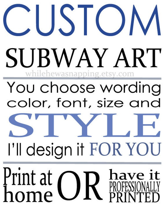 Items similar to Custom Digital Subway Art on Etsy