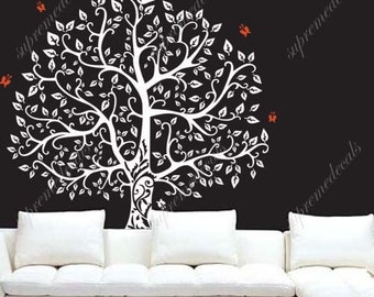 72×71 in. Banyan Tree- White Tree Decals, Flying Birds, Tree Wall Decals, Living Room Decors, Family Tree Decals, Home Wall Decors PDA-0413