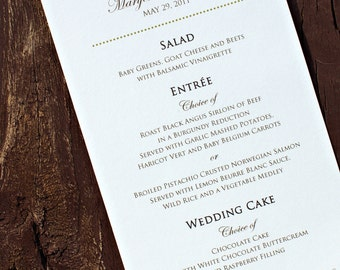 Wedding Reception / Rehearsal Dinner Menu - The Halle - Classic, Elegant - Ivory / White Cardstock 4 x 7 - Custom Ink Colors Available