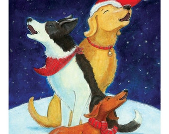 Canine Carolers - Dog Themed Holiday Card (Pack of 10)