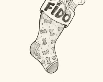 Fido's Stocking - Dog Themed Holiday Card (Single or Pack)