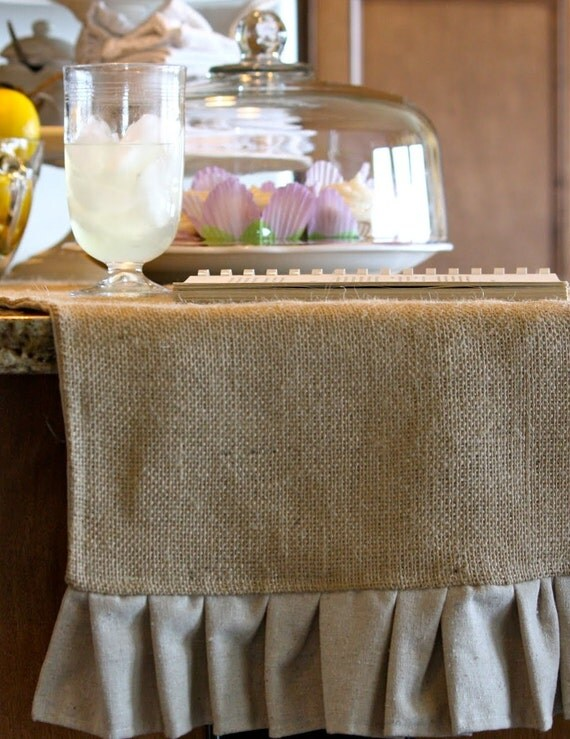 "Ruffled Burlap Table Runner 84"" Length"