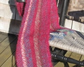 Artisan Handmade Cranberry Red Mohair Scarf, Modern Urban Chic Country Rustic Cottage City Style, Mens or Womens Fashion, Handwoven, Gift