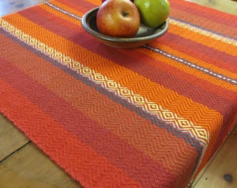 Southwest Decor Desert Table Runner, Rustic Fire Red Orange Flame Stripe Autumn Harvest Fiesta Mexican Tribal Hand Woven Cotton Table Cloth