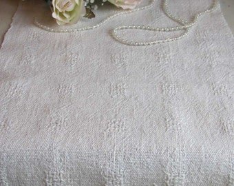 Long Rustic Linen Table Runner, Vintage French Country Cottage, Boho Beach Chic, Antique Farmhouse Home Decor, Hand Woven Cream White Linen