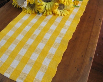 Summer French Country Cottage Farmhouse Decor Short Rustic Linen Table Runner, Modern Rustic Cabin Home Decor, Hand Woven Yellow White Check