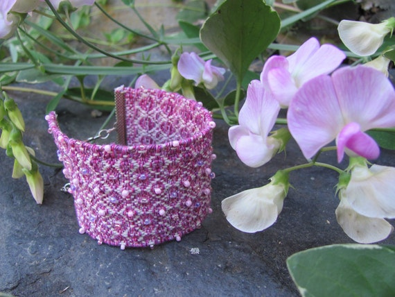 Spring Summer Pink Lavender White Cotton Glass Beaded Boho Cuff Bracelet Anklet Bohemian Folk Tribal Fun Fiber Art Fashion Jewelry Accessory