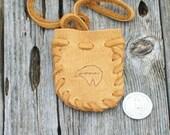 Bear totem medicine bag ,  Buckskin medicine bag with bear totem ,  Leather neck pouch , Necklace bag