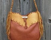 Leather handbag ,   Buckskin drum bag ,  Gypsy tote ,  Large shoulder bag