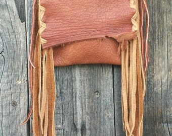 Rustic leather phone bag , Leather possibles bag , Fringed leather purse , Small leather crossbody bag
