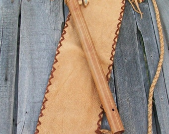 Fringed leather flute bag , Leather pipe bag