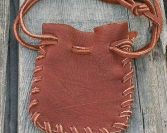 Buckskin leather pouch , Drawstring leather pouch , Crystal bag , Medicine bag